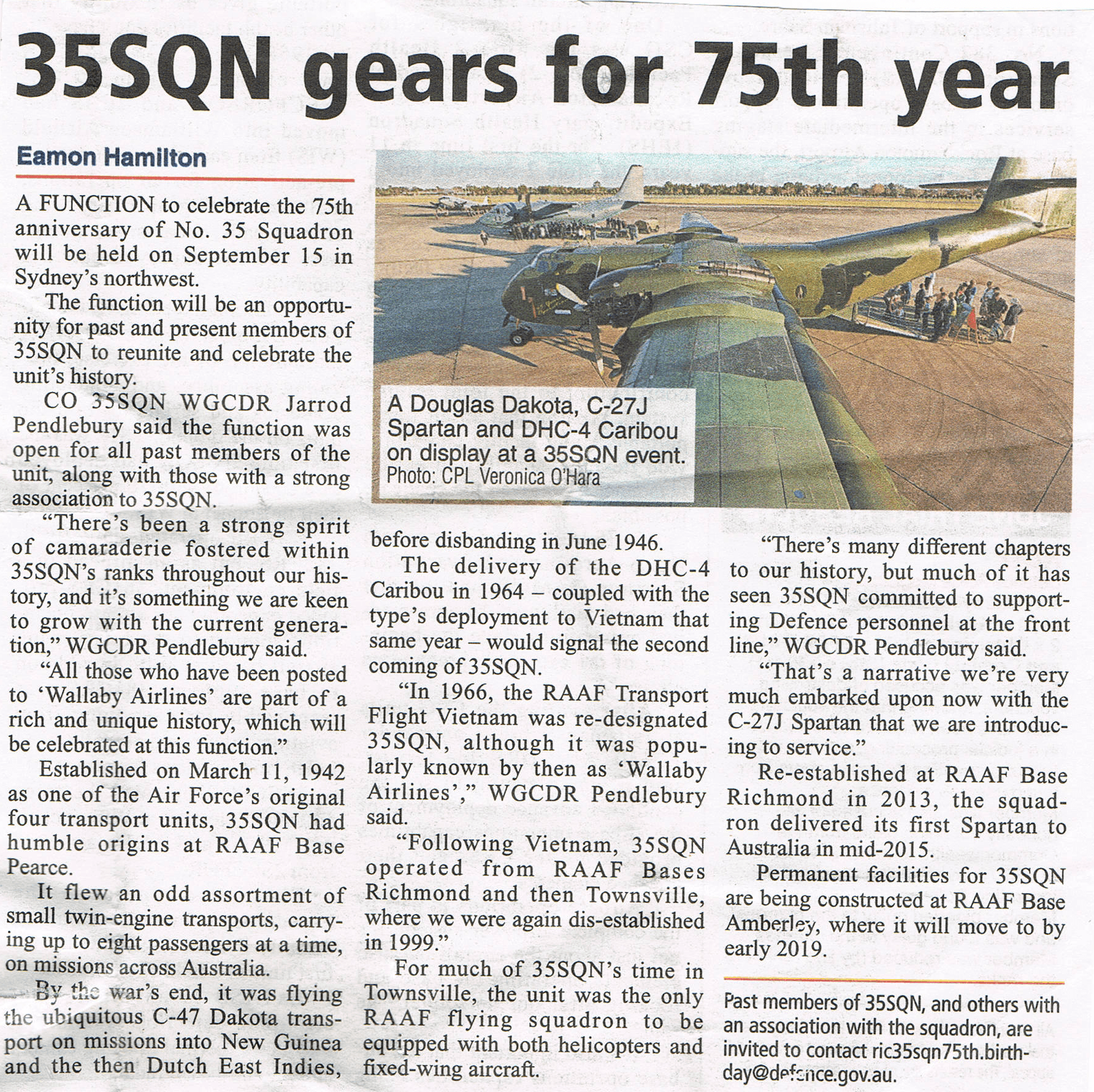 35SQN 75th anniversary news article